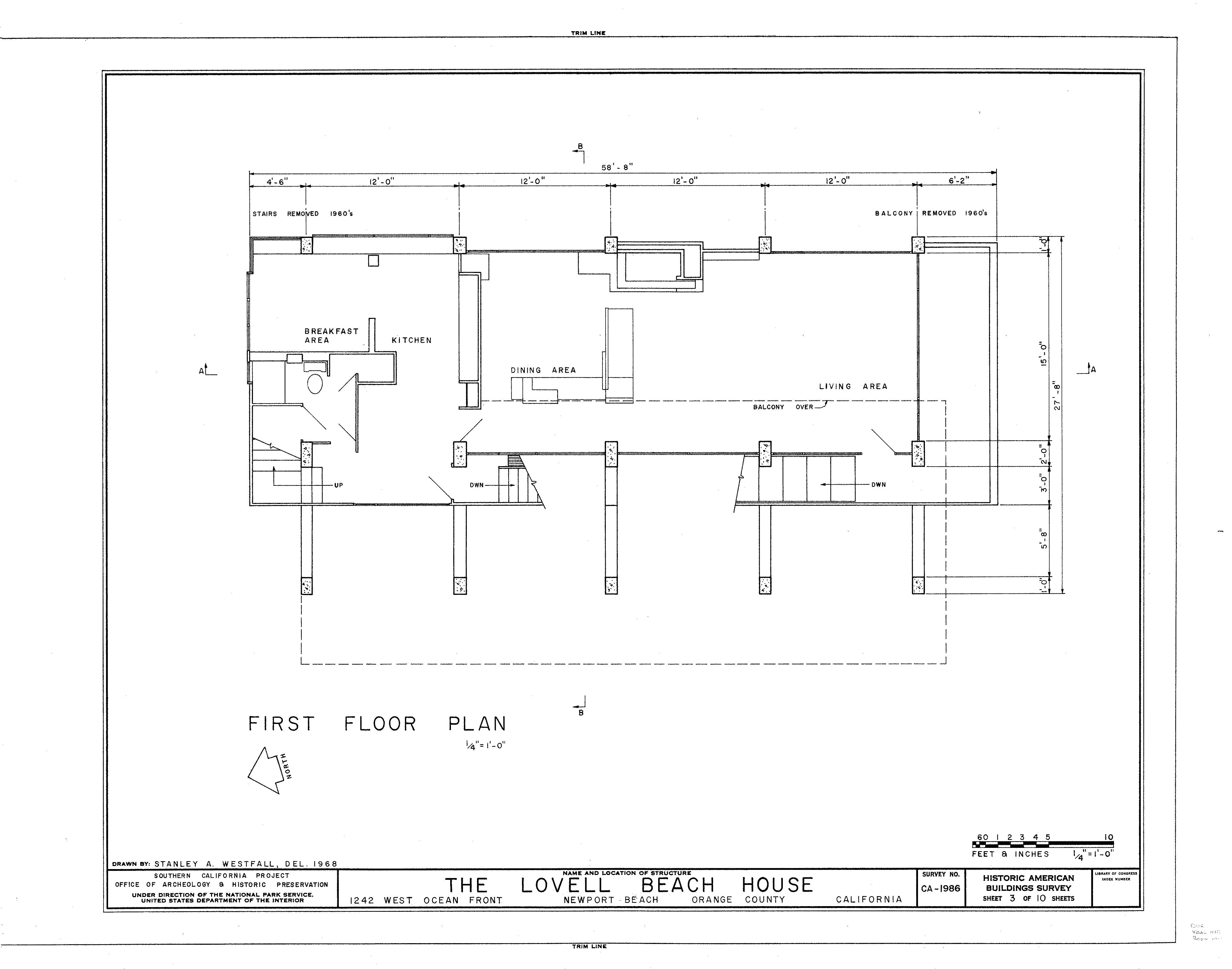 Casa lovell en la playa plano 3 wikiarquitectura - Plano de la casa ...